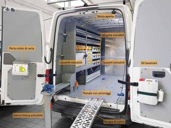 Allestimento furgone trasporto moto